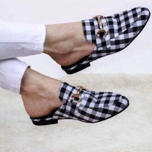 Shoes - Black Gingham mules/gold embellishments